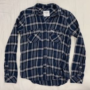 A&F Navy Plaid Flannel